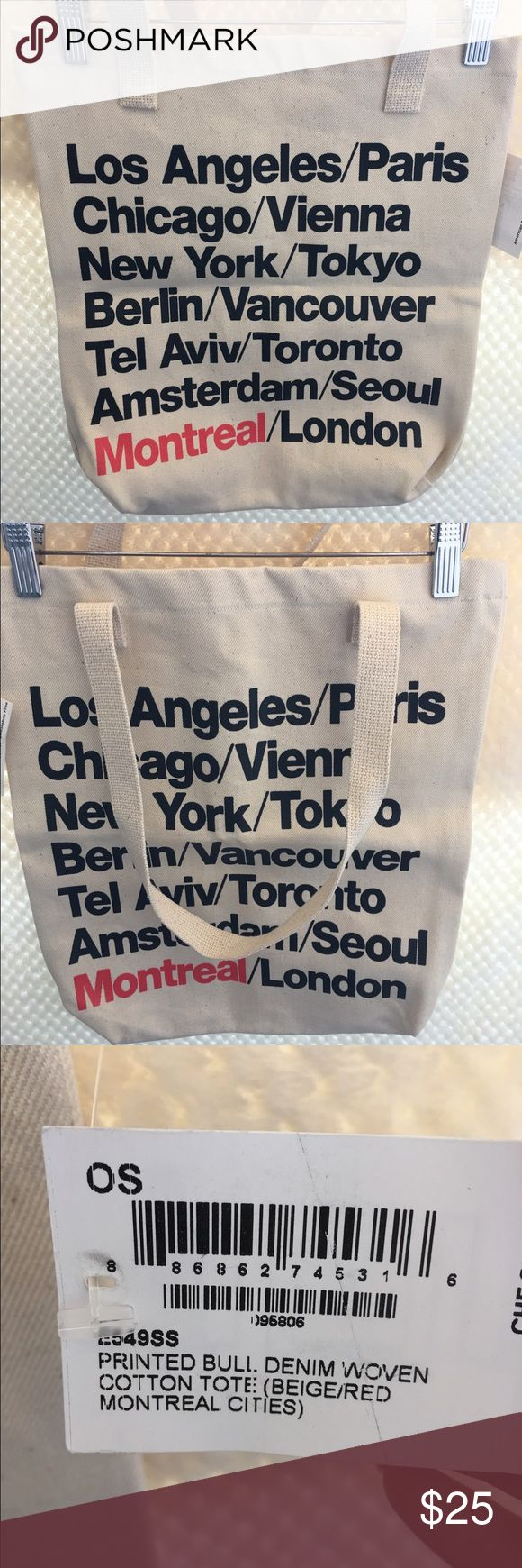 NWT American Apparel cities 👜 tote. NWT American Apparel printed bull denim woven cotton cities tote. Approx 14x16 American Apparel Bags Totes