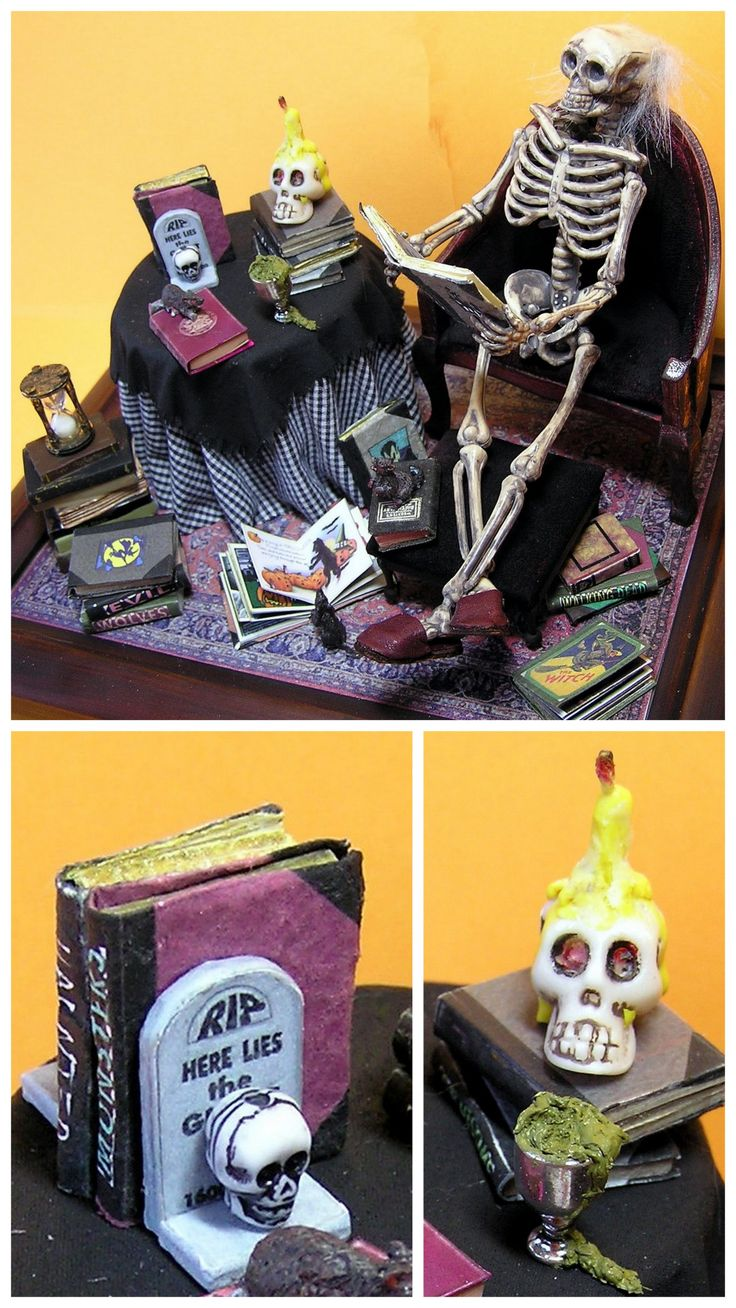 DIY Miniature Halloween Books Printables from DIY Dollhouse Miniatures.There are printables for 2 DIY Miniature Halloween Books. This post also contains tutorials and links for everything you see in the top photo. For instance, the skull candle is a...