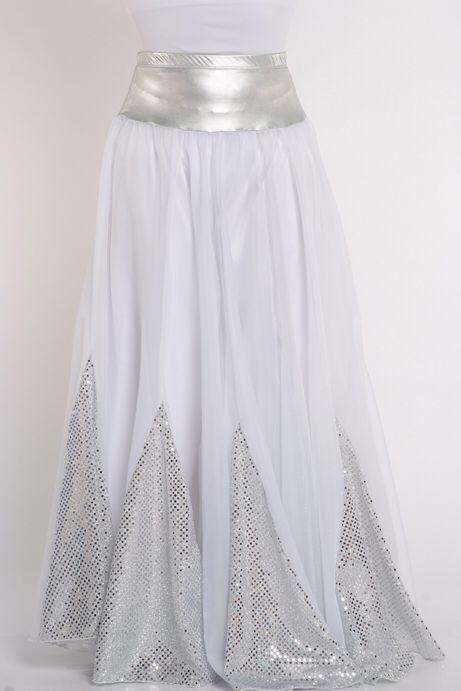 White silver worship dance Skirt Rejoice dance ministries