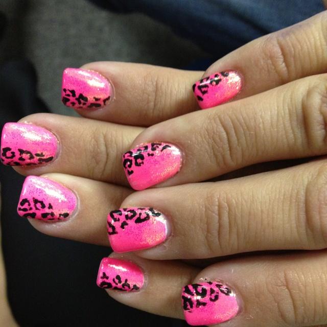 Pink Cheetah Nails Designs