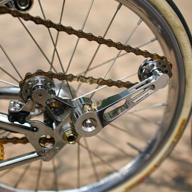 Brompfication 2/6 speed chain tensioner (chrome plated) + Ti parts workshop Titanium pully wheels