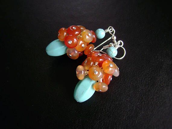 Red Agate Earrings Turquoise Earrings Red Agate Cluster