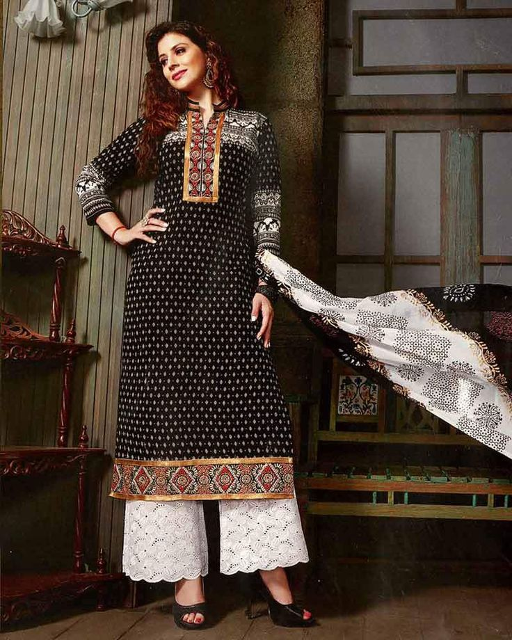 COTTON BLACK EMBROIDERED PALAZZO STYLE SUITS-CR_503 #womensfashion #palazzosuits