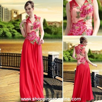Red Evening Gown - High Collar Applique $226.00 (was $270) Click here to see more details http://shoppingononline.com #RedEveningGown #RedEveningDress #RedDress #CustomMadeDress