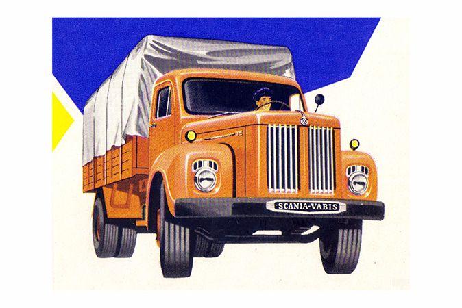 Evolução do L 71 e segundo produto nacional da Scania, o L 75 foi lançado no final de 1958, ainda com motor importado; a pintura em cor laranja viria a ser por muitos anos característica da marca.