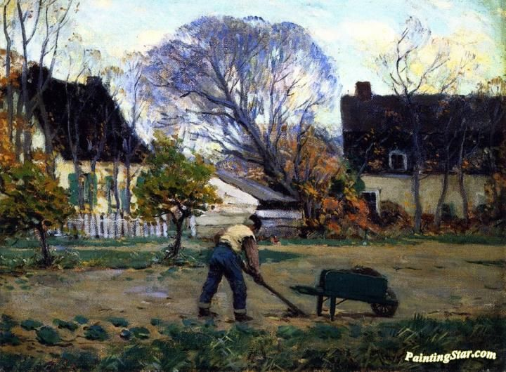 Fall Scene, Baie-Saint-Paul Artwork by Clarence Gagnon Hand-painted and Art Prints on canvas for sale,you can custom the size and frame