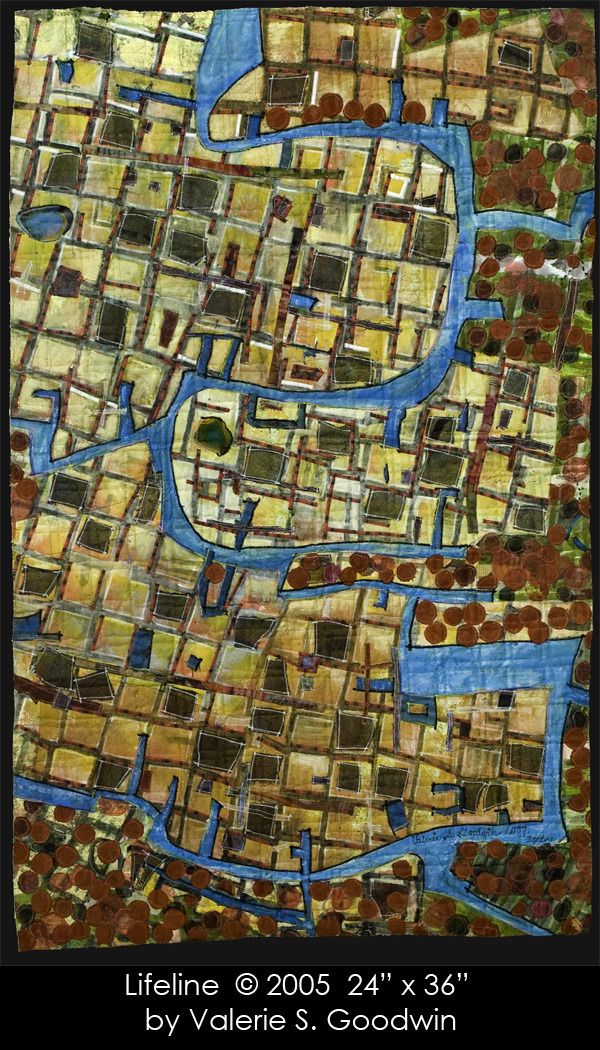 Lifeline map art quilt by Valerie S Goodwin Cartographic quilts, 2005