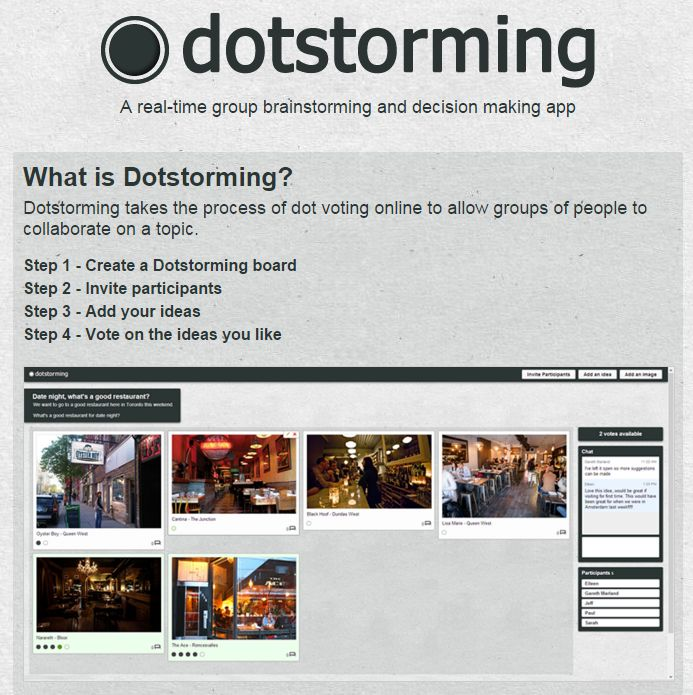Dotstorming is a neat tool that combines a bit of Padlet with a polling tool. On Dotstorming you can create a space for people to post digital sticky notes. Those notes can contain text and or imag...