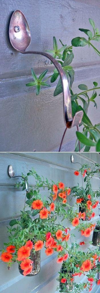 Beautiful new DIY to display your flower pots! Spoon Hangers!