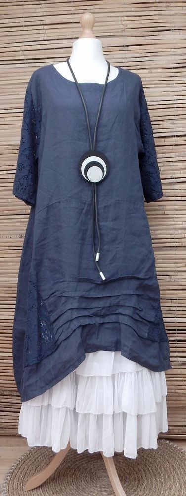 """LAGENLOOK BEAUTIFUL STUNNING LINEN LACE A-LINE DRESS*NAVY*BUST UP TO 48""""  in Clothes, Shoes & Accessories, Women's Clothing, Dresses 