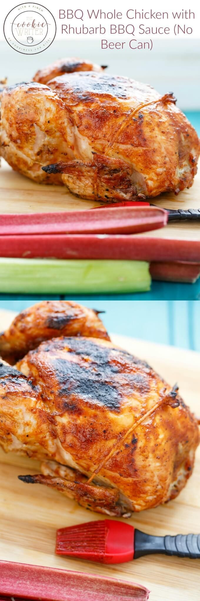 BBQ Whole Chicken with Rhubarb BBQ Sauce (No Beer Can) | @thecookiewriter
