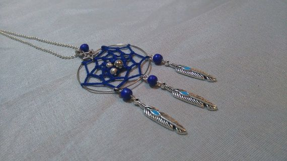 Collier Dreamcatchers Bleu chaine boule par Mafoliecreative sur Etsy