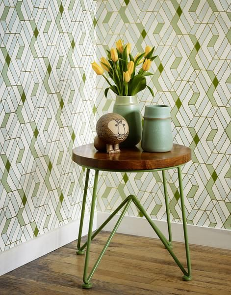 Our luxe, modern wallpapers are screen printed by hand Details - Roll: 27 in x 30 ft - Sample: 8.5 in x 11 in - Vertical Repeat: 32 in - Match: straight across - Finish: pre-trimmed - Material: clay c