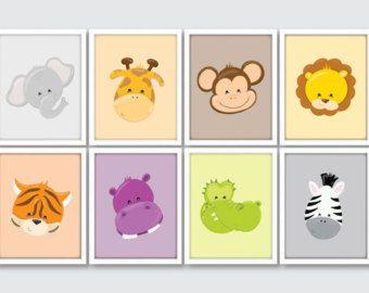 Jungle Animals Nursery Art Prints Set of 4 Nursery Art