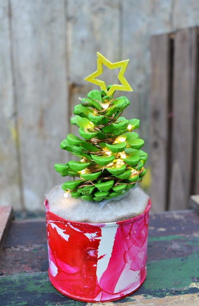 Cute Illuminated Pine Cone Christmas Trees.