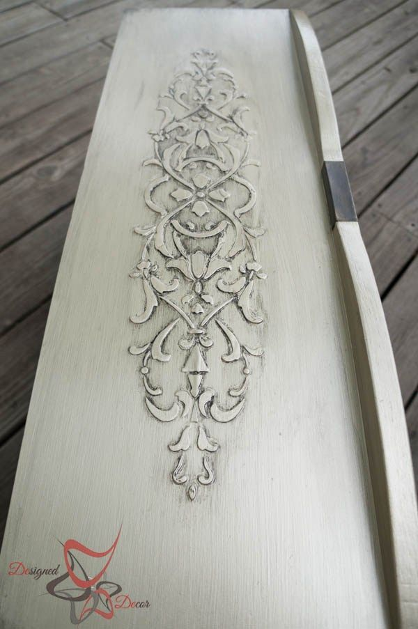Stenciled Dresser ~ Wood Icing- furniture glazing in licorice- wood carving