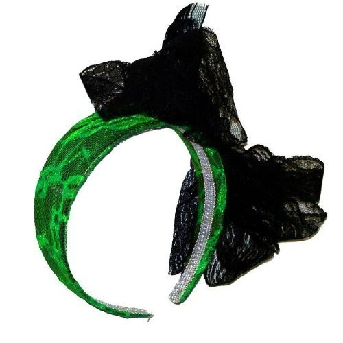 Private Island Party  - Green Lace Headband with Black Bow 6673, $0.80 - $1.99  This stylish green headband features an attached black bow that is simply irresistible.