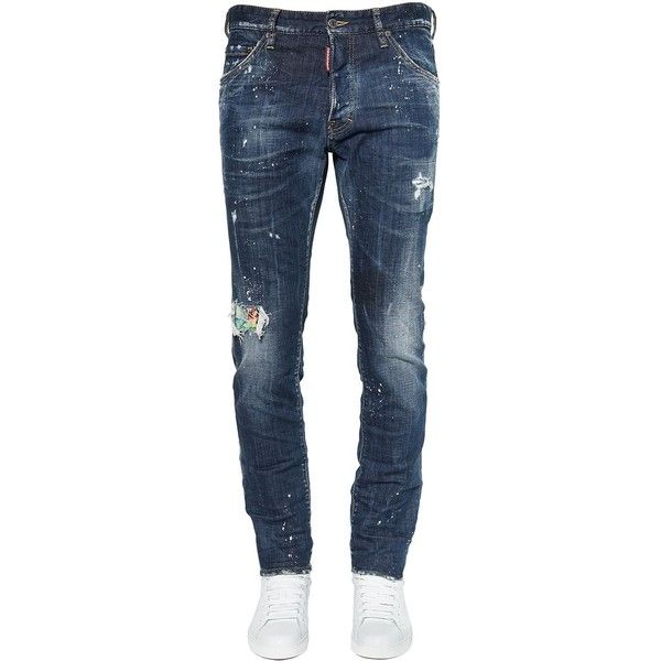 Dsquared2 Men 16.5cm Patch Cool Guy Cotton Denim Jeans (2.110 BRL) ❤ liked on Polyvore featuring men's fashion, men's clothing, men's jeans, dad, blue, mens blue jeans, mens torn jeans, mens patched jeans, mens jeans and mens destroyed jeans