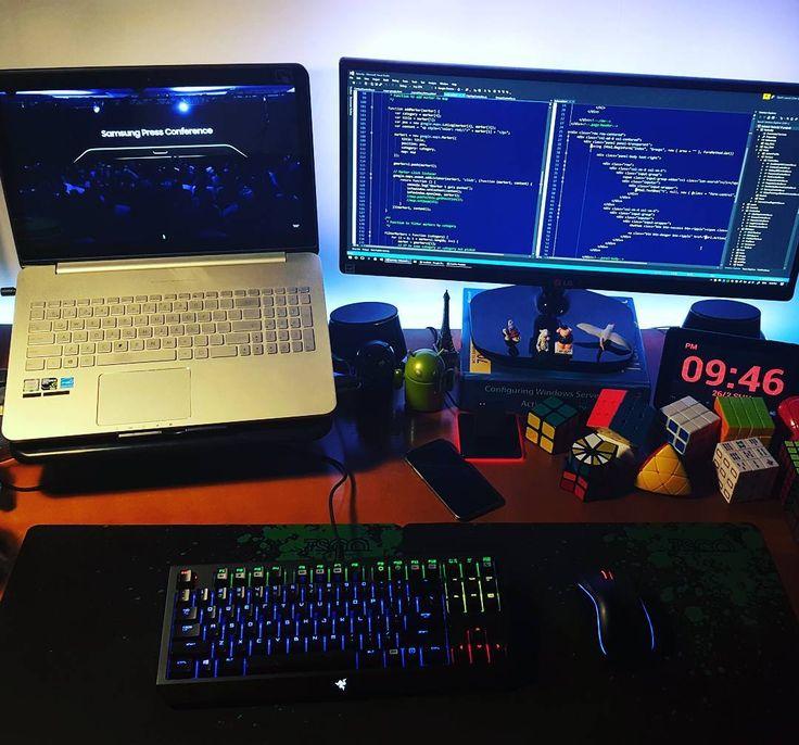 . Coding while watching MWC2017  Samsung press conference live... With 20 minutes delay so far.. ----- #coding #wmc #wmc2017 #samsung #developer #programmer #developing #mvc #mvc5 #csharp #javascript #source #sourcecode #rubikscube #razer #razerchroma #nightcoding