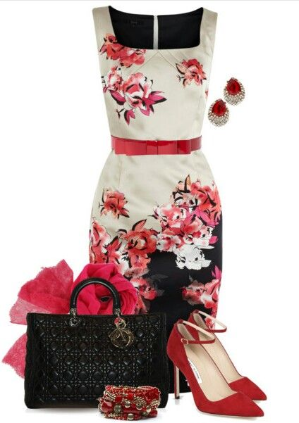 Lovely Polyvore floral combination in red, white and black.
