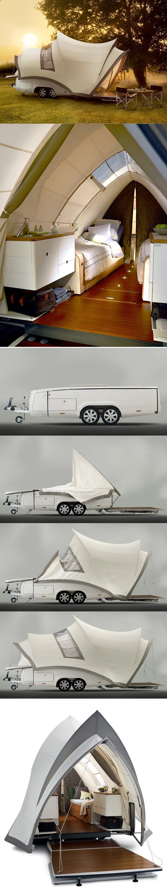 Camping Tents - The Opera pop up camper. I normally just pack out, but this could be a fun change of pace. Luxury camping?