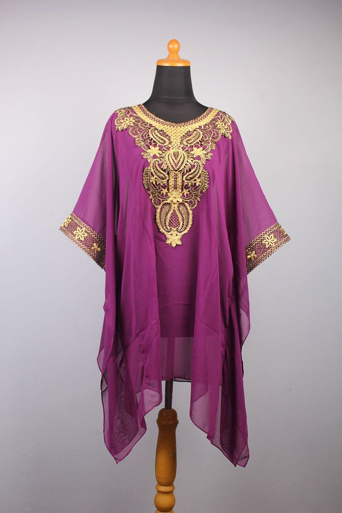 Perfect Moroccan Batwing Purple Chiffon Kaftan Embroidery Tunic Dress Blouse #Handmade #TunicDressBlouse #ChristmasEIDpartywedding