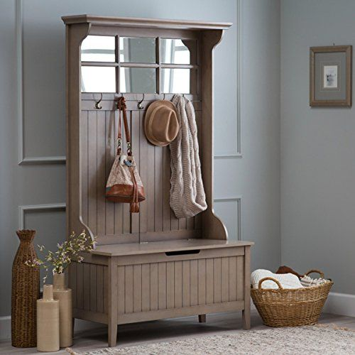 Hall Storage Bench Gray Entryway Hall Tree Seat Coat Rack