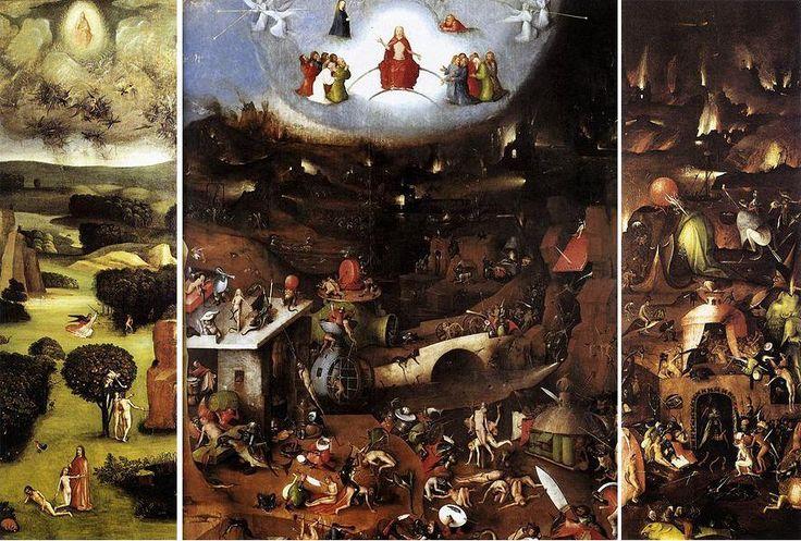 El Tríptico del Juicio Final es una de las obras que realizó probablemente en una etapa intermedia de su carrera.. La escena a sus pies se desarrolla en el Valle de Josafat, tal y como narra el Antiguo Testamento, y con la ciudad terrena de Jerusalén en llamas al fondo.