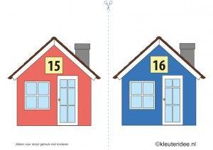 CITOvaardigheden voor kleuters, huisnummers 1-20, kleuteridee.nl , What number is the house in the street, free printable.