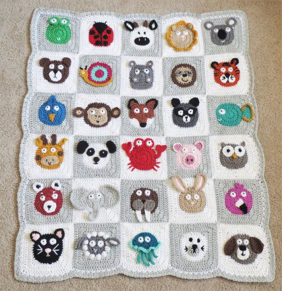 BABY BLANKET PATTERN Crochet Pattern Instant Download Pdf Tutorial – Zookeeper's Blanket – Animal Blanket Permission to Sell English Only