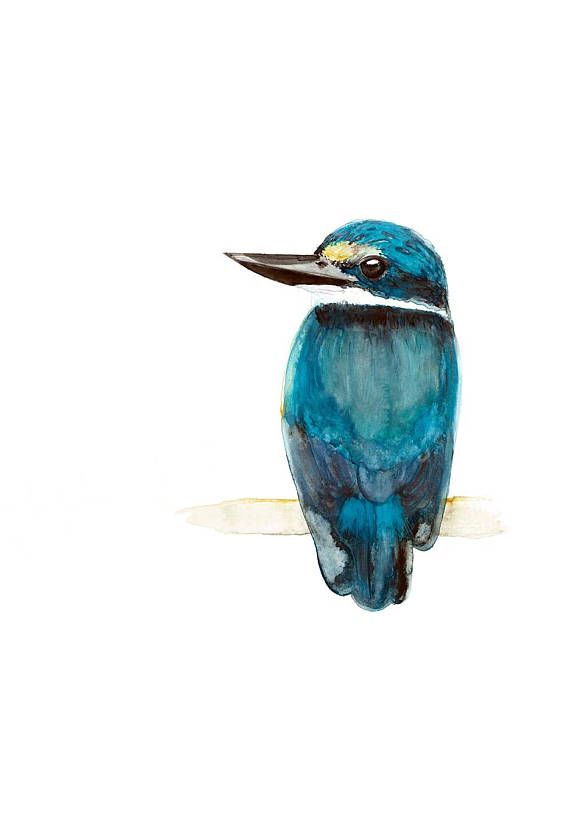 Sacred Kingfisher Watercolour Print Turquoise Blue Australian