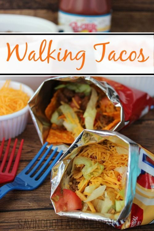 A walking taco recipe from Kristie. Just use chip bags, fill them with all the taco fillings you've got! This is delightful beyond words. Fun way to keep your food mobile and creative and enjoyable for everyone.