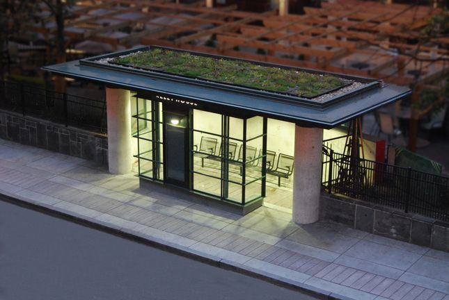 Very cool bus stop.  The roof is a living roof to be more pleasing to the residents who live above and have to look below
