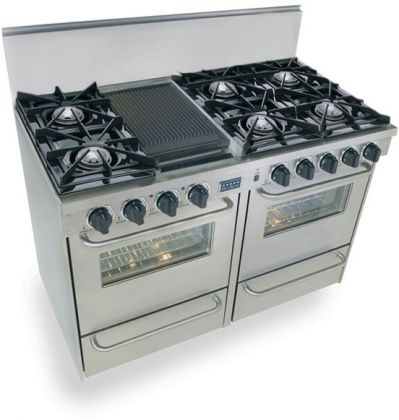 """Images of FiveStar TTN-510-7BW 48"""" Freestanding Gas-Natural Gas Range With 6 Open Burners, 2.92 Cu. Ft. Manual Clean Oven, Broiler Drawer, Double Sided Grill/Griddle, Vari-Flame Simmer, In Stainless Steel 