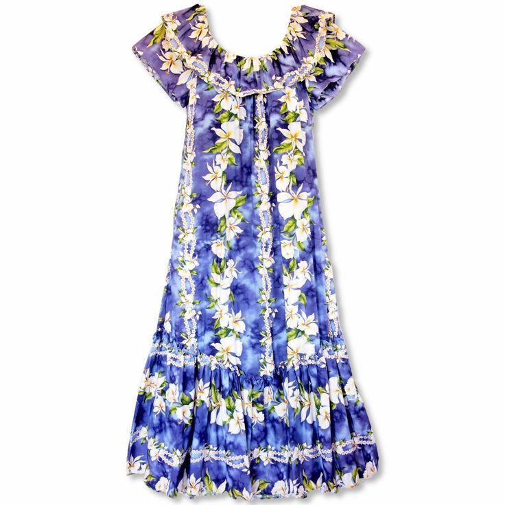 Orchid Purple Long Ruffle Hawaiian Muumuu Dress