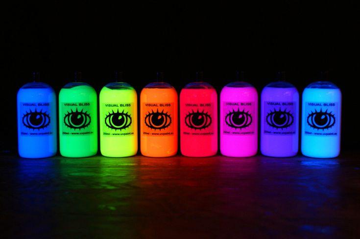 8x 250ml Ultra Luminoso Artisti' UV Pittura Fluorescente Ultraviolet