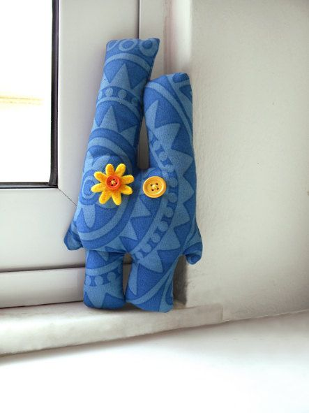 Blue bunny boho sky blue yellow stuffed animal by BlackRedDotsKids