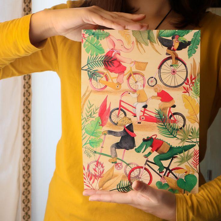 Stampa illustrazione animali giungla bicicletta, per