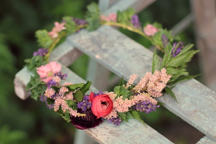 Floral crown for flower girl featuring astilbe, lavender, larkspur, and ranunculus