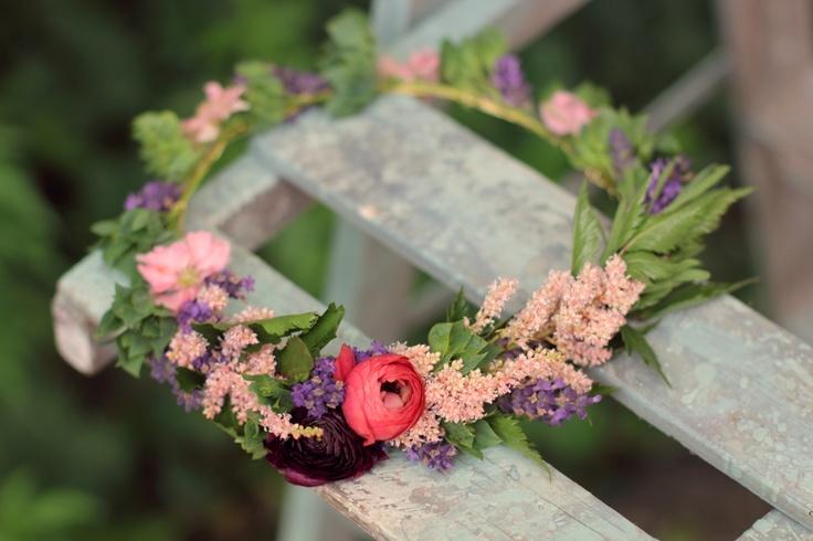 Floral crown for flower girl featuring astilbe, lavender, larkspur, and ranunculus