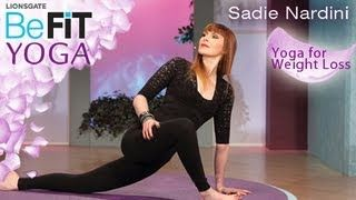 Yoga for Weight Loss- BeFit Yoga with Sadie Nardini is an intense, fat-burning Yoga series that is designed to rev-up the metabolism, strengthen the core, slim the waistline, and sculpt lean muscle through a flowing combination of calorie-torching poses. Drop excess weight and tone the abs, hips, legs, arms, chest and butt . Through each new pose, you will reduce stress and relieve unwanted tension in this 10 minute, total body-toning workout
