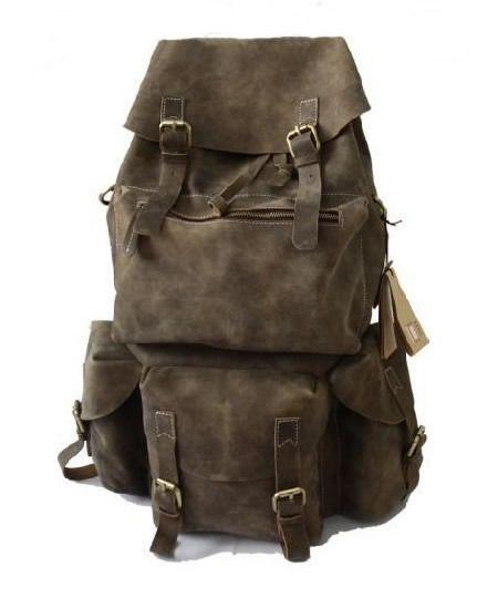Large Handmade Superior Crazy Horse Leather Backpack Travel Bag