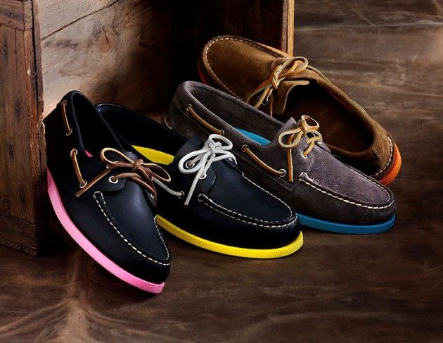 Sperry Top Sider with Neon Soles   Barneys Exclusive out November 19th - $100