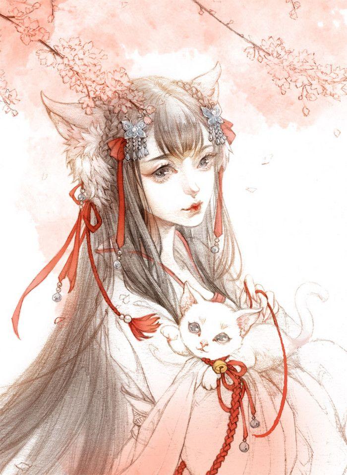 白色猫妖-古戈力_古风_涂鸦王国插画