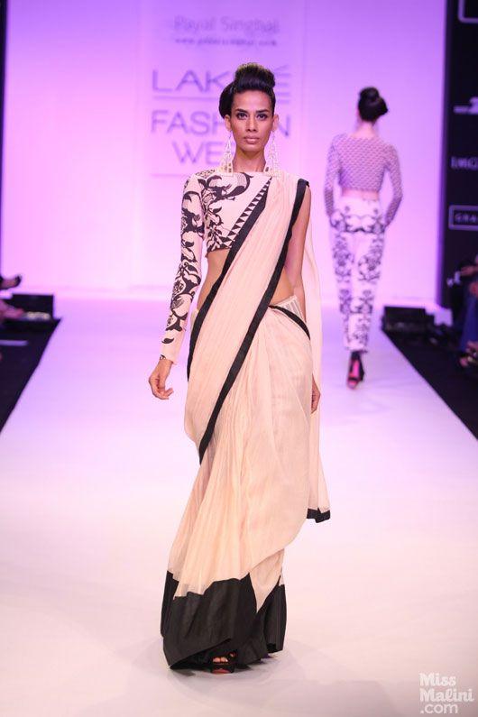 Payal Singhal black and white saree