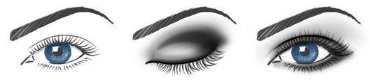 smokey eye's:  1.met donker oogpotlood maak je een mooie eyeliner boven en onder je oog.   2.kleur met een donkere oogschaduw je bewegend ooglid in. En ga met de donkere oogschaduw onder je oog langs over de eyeliner.  3.Zet je acadeboog (het gedeelte waar je bewegend ooglid overgaat in het bot) wat donkerder aan.Vervaag het iets naar boven  4.maak met een witte oogschaduw je binnenooghoek iets lichter. Je kan ook met een lichte kleur de huid van acadeboog tot wenkbrauw iets oplichten.
