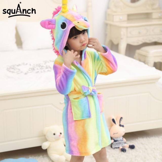 Soft Kids Bathrobe Nightgown Girl Boy Cartoon Sleepwear Homewear Pajamas Hooded