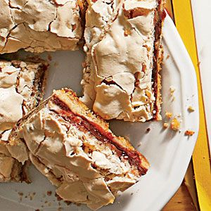 Nancy Reagan's Vienna Chocolate Bars         1 cup butter, softened $     1 1/2 cups granulated sugar, divided $     2 large egg yolks $     2 1/2 cups all-purpose flour $     1 (10-oz.) jar seedless raspberry preserves     1 cup semisweet chocolate morsels     4 large egg whites, at room temperature $     1/4 teaspoon table salt     2 cups finely chopped pecans, lightly toasted Must see the rest recipe.....very good !!