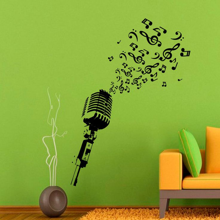 Wall Decal Microphone Studio Notes Musical by DecalsfromDavid