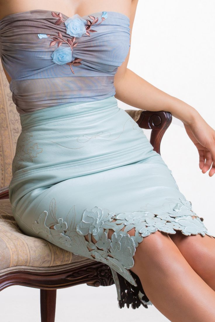 Laser Cut and Embrodeiry Skirt - Mint Leather. A stunning exclusive flower design has been laser cut on premium quality lambskin and finished with embroidery applications sewn in leather. Simply one of a kind; supple and buttery soft with a flattering pencil cut design.